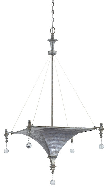 3-Lights Pendant Lighting in Antique Silver Gray Capiz contemporary-pendant-lighting