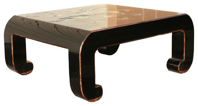 Black Piano Painted Lacquer Floral Coffee Table contemporary-coffee-tables