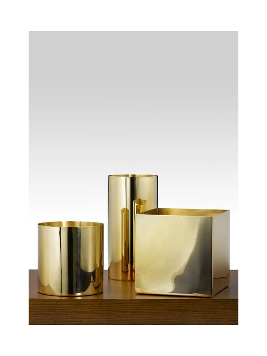 Polished Brass Cube And Cylinders -