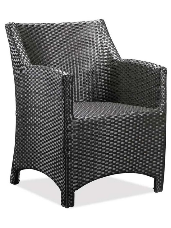 Mykonos Outdoor Armchair By Zuo Modern - The Mykonos Chair adds a whole new level of style to relaxing outdoors. Made of an aluminum frame and UV protected synthetic weave,this modern chair is both sturdy and well suited to outdoor use. The contemporary look of the Mykonos Chair enables you to bring the same style you enjoy in your home to the backyard or patio. The Mykonos Table makes a great complement to this versatile chair.