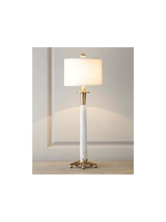 "Horchow - Vanity Table Lamp - A symphony in white and gleaming brass, this slender lamp brings sophistication as well as light to the room. Its petite size makes it an ideal choice for buffet or vanity. Made of marble and brass. Shantung shade. In-line switch; uses one 60-watt bulb. 9""Dia. x 28""T. Imported."
