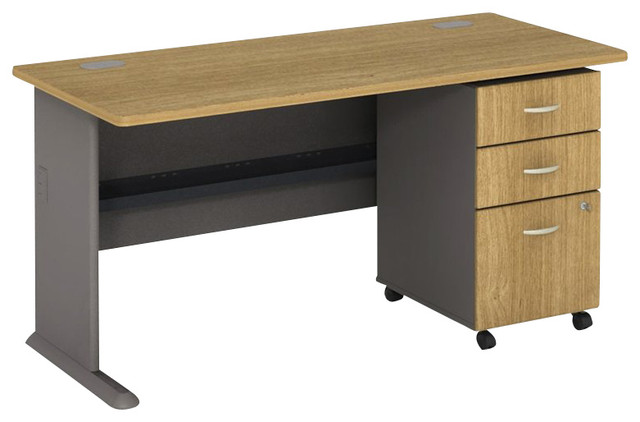"Bush Series A 60"" Computer Desk with 3-Drawer File Cabinet in Light Oak - Transitional - Desks ..."