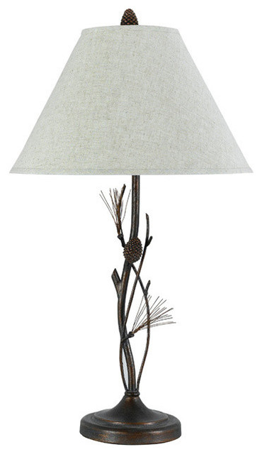 Pine Twig Wrought Iron Table Lamp - Rustic - Table Lamps - by Black Forest Decor