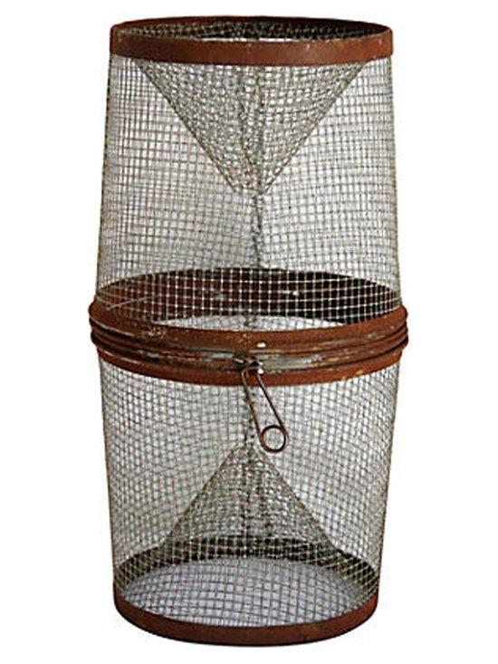 Galvanized Wire Minnow Trap - A vintage galvanized wire minnow trap. Detailed with spring loaded opening. Rustic found condition.