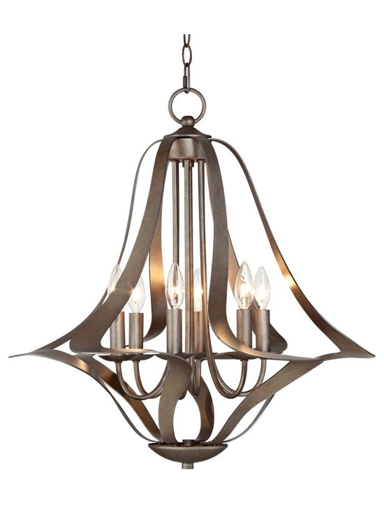 "Possini Euro Design - Possini Euro 6-Light Corinthian Bronze Bell Chandelier - Slender bands of Corinthian bronze finish metal make up the framework of this fantastic 6-light chandelier. The curved frame holds six shadeless candle lights in a central display. A chain and canopy in Corinthian bronze finish complete this fantastic design for your contemporary or transitional style home. Metal construction. Corinthian bronze finish. Takes six 60 watt bulbs (not included). 26"" wide. 25 1/2"" high. Includes 6 feet of chain and 12 feet of wire. Canopy is 5"" wide.  Bell chandelier design.  Corinthian bronze finish.   Metal chandelier frame construction.     From the Possini Euro Design lighting collection.  Takes six 60 watt bulbs (not included).   25 1/2"" high.   26"" wide.   Includes 6 feet of chain and 12 feet of wire.   Canopy is 5"" wide."