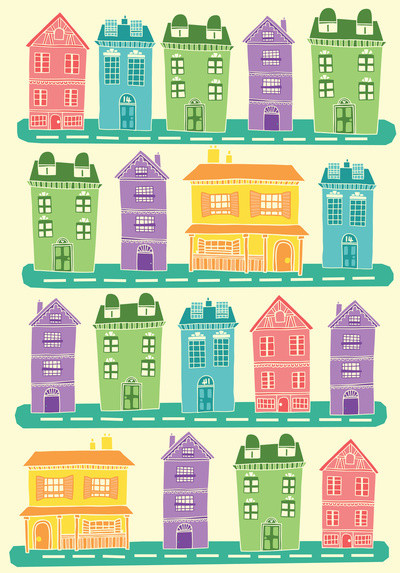 Houses. Art Print contemporary artwork