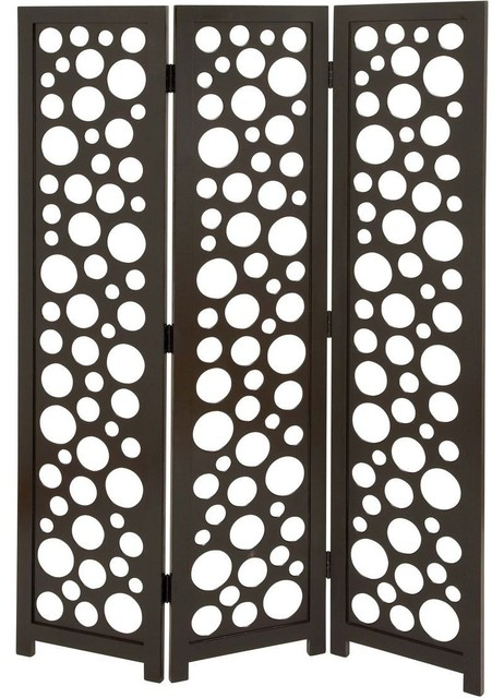6 Ft Tall Solid Frame Fabric Room Divider 4 Panels: 3 Panel Screen In Random Circular And Oval Patterns