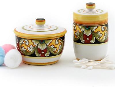 Deruta Vario: Cotton Balls Jar and Cotton Swab Holder mediterranean-bathroom-canisters