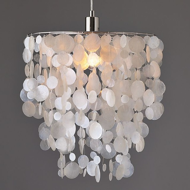 Capiz Round Pendant, White beach-style-pendant-lighting