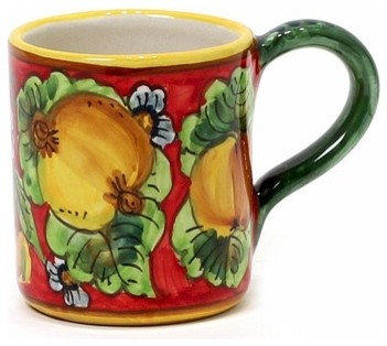Geribi: Mug Fruits with Red Background. mediterranean-mugs