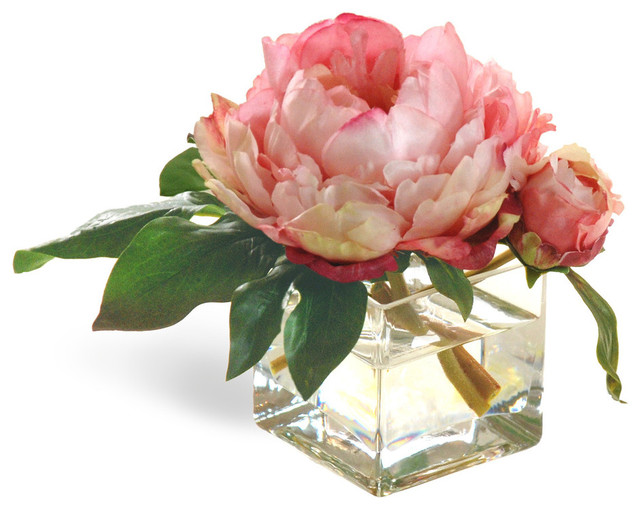 Mini Peony Pink Flower Arrangement - Traditional - Artificial Flowers Plants And Trees - by ...