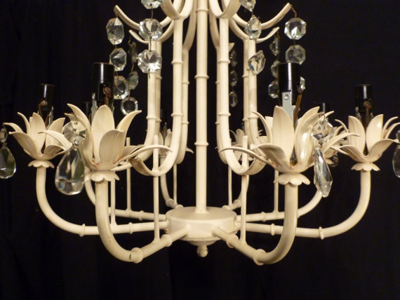 Vintage Faux Bamboo Chandelier with Crystals by Ageless Alchemy tropical-chandeliers
