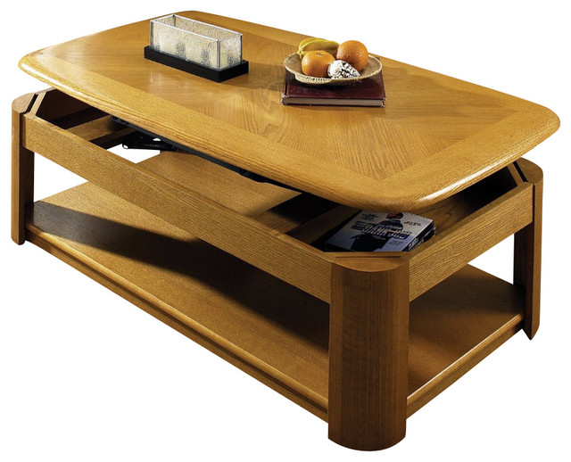 Steve Silver Primo 48x27 Lift Top Cocktail Table In Oak Contemporary Coffee Tables By