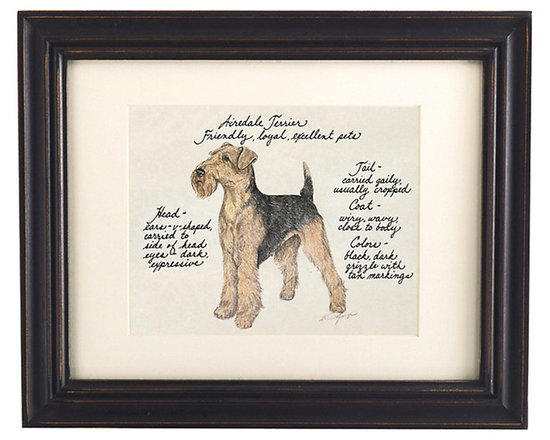 Ballard Designs - Airedale Dog Print - Our Airedale Dog Print was created by the dog-loving, husband and wife team of Vivienne and Sponge. The Airedale is known for being friendly, loyal and an excellent pet. Each Airedale portrait is hand colored and embellished with notes on the breed's special characteristics. Printed on antiqued parchment, signed by the artists and framed in antique black wood with eggshell mat and glass front. Airedale Dog Print features:Hand colored & signed . Printed on parchment. Eggshell mat. Antique black frame