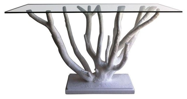 pre owned sculptural tree base table rustic coffee tables