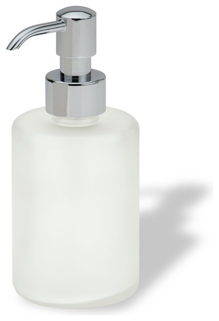 Luxury Free Standing Round Frosted Glass Soap Dispenser In