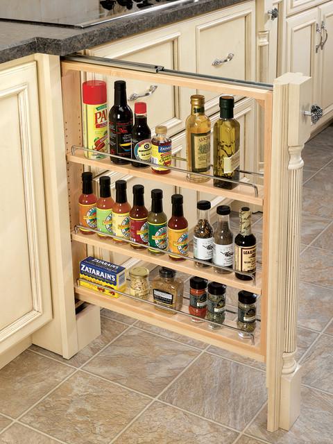 Rev-A-Shelf Base Filler Pull-Out Organizer with Wood Adjustable Shelves - Kitchen Drawer ...