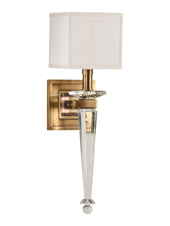 "Inviting Home - Brass and Crystal Sconce - Cast brass and solid crystal sconce with square fabric shade; 5-1/2""W x 7-1/4""D x 20""H; Solid crystal and antiqued brass one light sconce. Crystal sconce has square hardback fabric shade. Crystal wall sconce is designed for use with candelabra bulbs only. UL approved for indoor use - hardwire application."