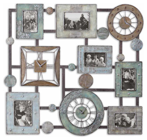 petina photo collage and wall clock traditional