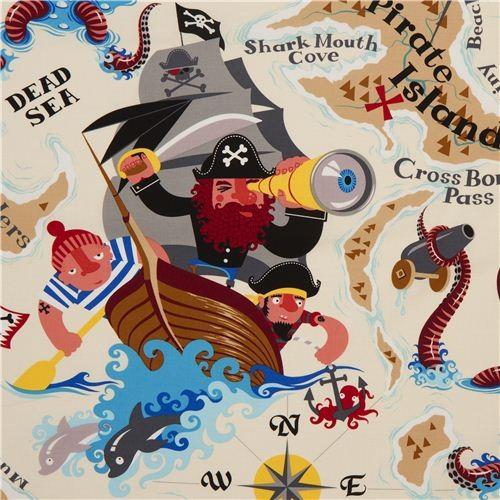 Sand Alexander Henry Pirate Fabric Pirate Island Fabric