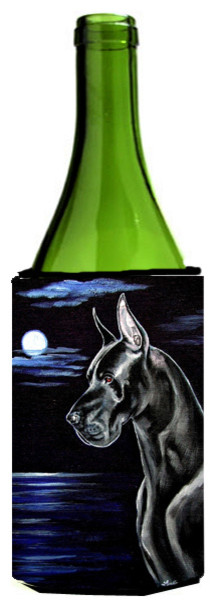 Black Great Dane in the Moonlight Wine Bottle Koozie Hugger wine-and-bar-tools