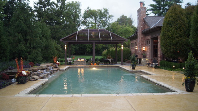 Louvered Roof Pergola and Pool traditional-pool