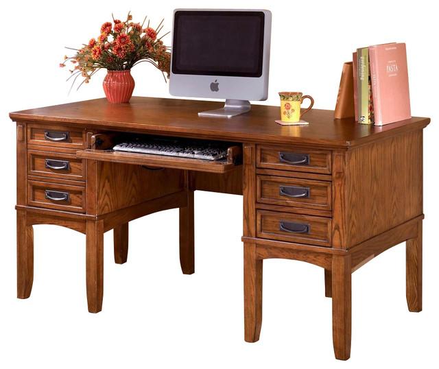 Mission style 7 drawer desk craftsman desks and hutches for Craftsman style desk plans