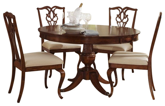Liberty Furniture Ansley Manor 6 Piece 52 Inch Round Dining Room Set w/ Sideboar traditional-dining-sets