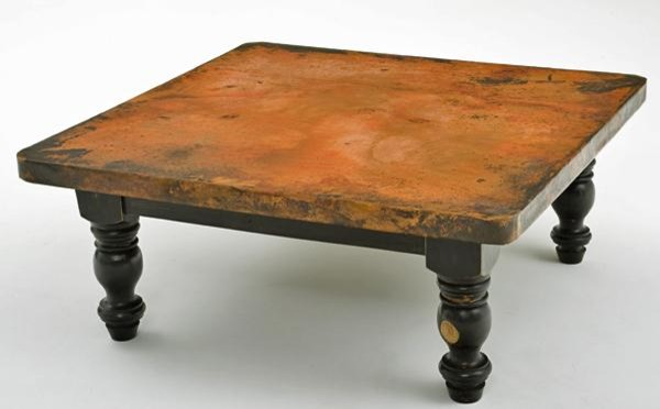 Copper Coffee Table - Wood Pedestal Base eclectic coffee tables