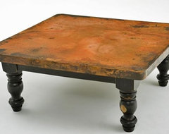 Copper Coffee Table - Wood Pedestal Base eclectic-coffee-tables