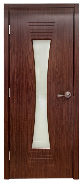 Modern Interior Door With Frosted Glass M061 Black Walnut
