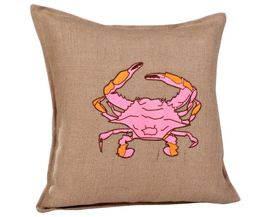 ecoaccents Pink Crab Washed Burlap Pillow