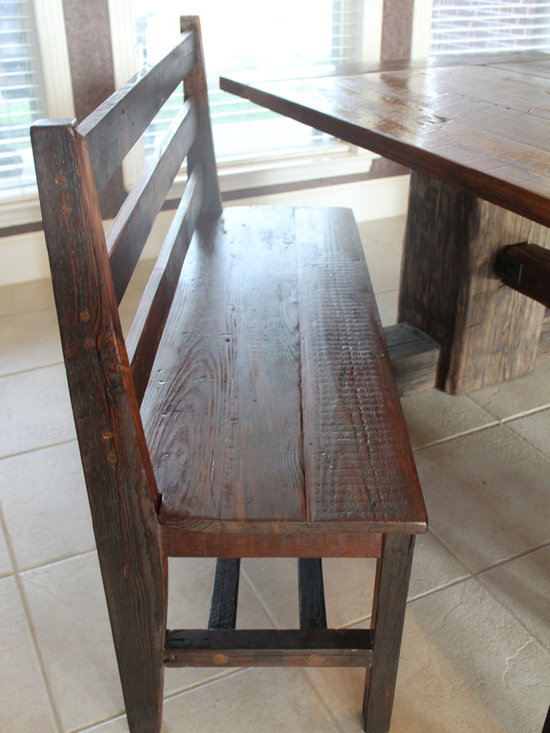 Dining Bench - Bench made from reclaimed wood from a 1930 shadecropper house and inspired by an early 1900's chair from the Carter Ranch in Texas.
