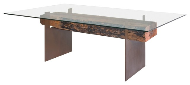 dining table glass top wood metal base contemporary dining tables