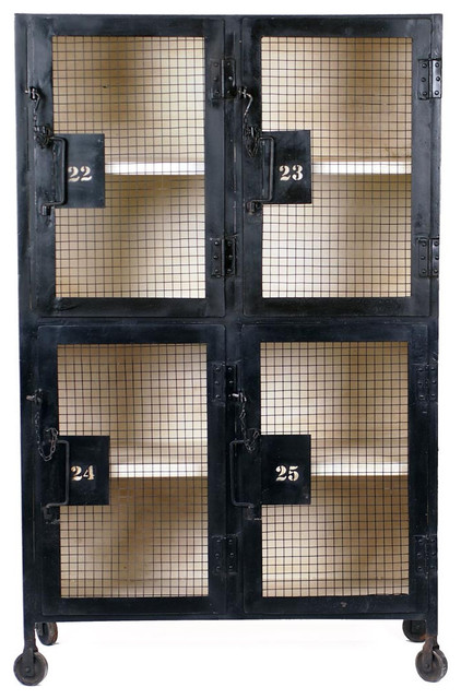 Bronx Locker Cabinet - White Accents - Industrial - Storage And Organization - by CRASH ...