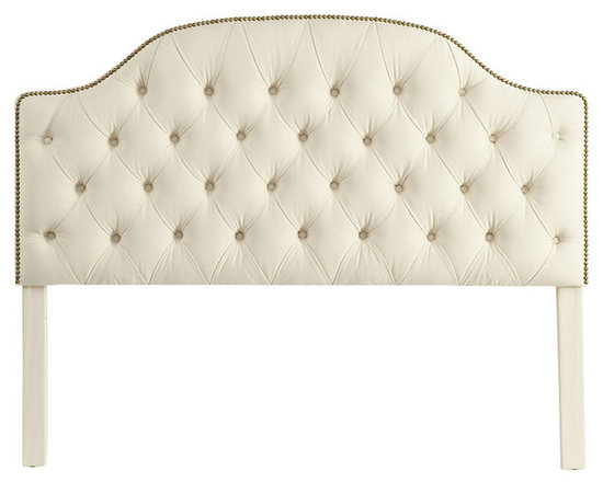 Ballard Designs - Camden Tufted Headboard with Brass Nailheads Full - Hardwood frame. Self-covered buttons. Artisan crafted in North Carolina. Available in Off-White Twill. Special Order in your choice of fabrics. Create an inviting, custom look with our exclusive padded Camden Tufted Headboard with Brass Nailheads. We have improved the construction of this headboard so that the legs adjust to accommodate your mattress height.Camden Tufted Headboard with Brass Nailheads features:  . .  . . . Matress not included.