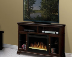 Dimplex Brookings Espresso Electric Fireplace Media Console with Glass Ember Bed contemporary media storage