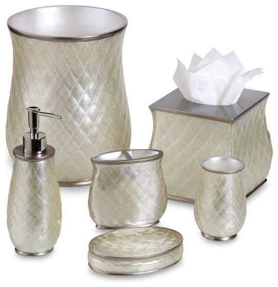 Bathroom Accessories Set With Mirror : Nicole miller sparkle bath ensemble traditional
