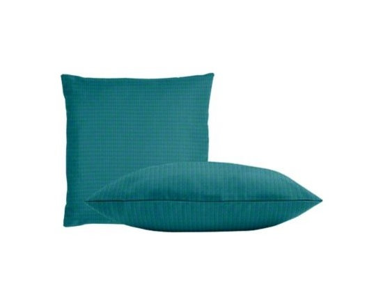 """Cushion Source - Sunbrella Spectrum Peacock Throw Pillow Set - The Sunbrella Spectrum Peacock Outdoor Throw Pillow Set consists of two 18"""" x 18"""" throw pillows in a solid vivid turquoise."""