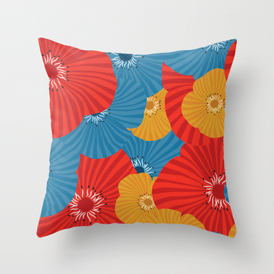 Pops of Poppies Throw Pillow contemporary-decorative-pillows