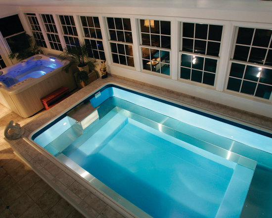 Original Endless Pools®, Indoor Pool - This Endless Pool was installed before our Spa Series debuted. Great room, but now you can swim and relax in the same space with an Endless Pools Swim Spa!