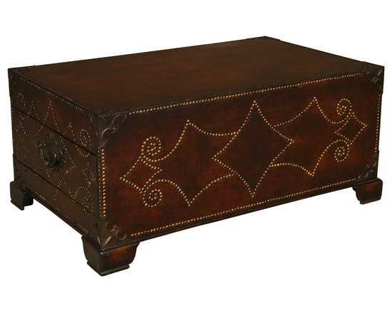 TerraSur - Garaile Trunk Coffee Table - Trunk show. This leather-bound trunk with elaborate nailhead trim will steal the limelight wherever you place it. It takes its design inspiration from a 17th-century American antique, yet it will have no problem fitting right in with the rest of your modern-day furnishings. Each end has a storage drawer that's perfect for holding remotes or reading materials.