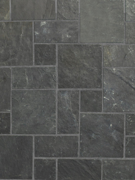 """Relastone Systems - Realstone Systems Charcoal Kasa Mat - Kasa Stone mats feature larger squares than their Halona stone mat counterparts. These mats feature a square or rectangular """"ashlar"""" pattern of selected slate or quartz that is adhered to a rubber mesh mat."""