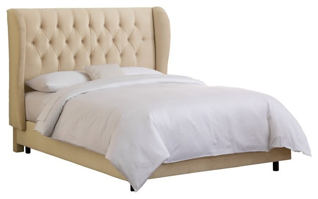 Skyline Furniture Tufted Wingback Low Profile Bed contemporary beds