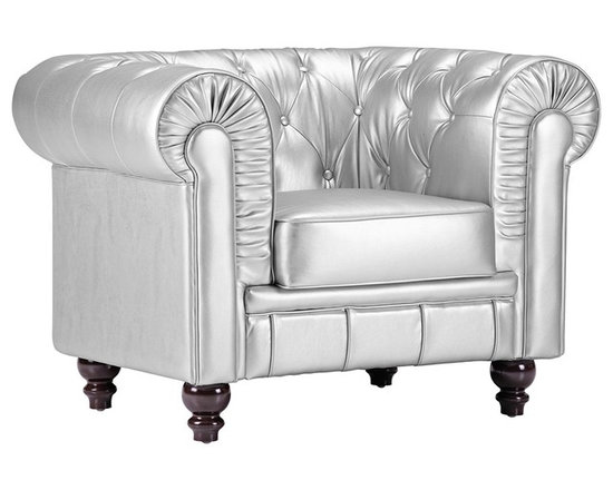 """Zuo - Zuo Aristocrat Silver Leatherette Armchair - The Aristocrat armchair features ruffling tufting and buttons on its sleek silver leatherette cushioning. This impressive piece has glossy oversized carved wood legs that add interest and contrast. Comfort and style from the Zuo Modern collection. Silver leatherette. Glossy wood legs. 26 1/2"""" high. 33 1/2"""" wide. 29 1/2"""" deep.  Hand-crafted tufted detailing.  Silver leatherette.   Glossy wood legs.   26 1/2"""" high.   33 1/2"""" wide.   29 1/2"""" deep."""