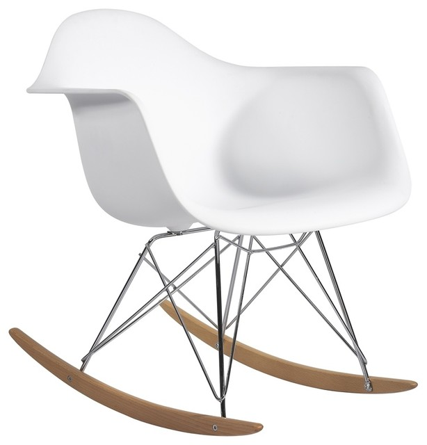 Molded Plastic Armchair Rocker in White - Midcentury - Rocking Chairs ...