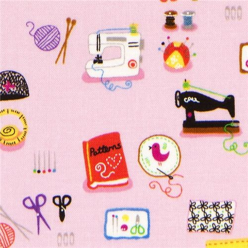 pink designer fabric with sewing machine knittings scissors - Fabric ...