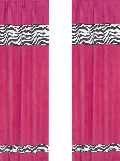 Pink Zebra Window Panels (Set of 2) contemporary-curtains