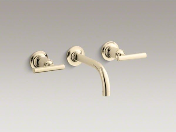KOHLER Purist(R) widespread wall-mount bathroom sink faucet trim with lever hand contemporary-bathroom-sink-faucets