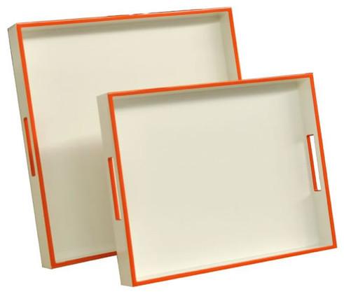 Lacquered Trays, White And Orange Edge contemporary-serveware